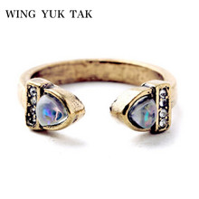 Promotion New Party Prong Setting Acrylic Anillos Brand Fashion Vintage Design Simple Open Mouth Ring For Charming Jewelry