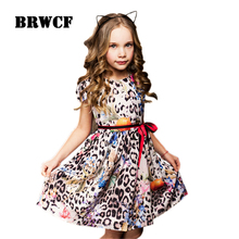 BRWCF Flower Girls Dress For Party Wedding Birthday 2017 Summer Princess Dresses Leopard Printing Children Clothes 2-8Years(China)