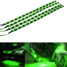 4Pcs New Arrivals!!! Hot Green 30CM 15 LED Car Motors Truck Flexible Strip Light Waterproof 12V Auto