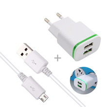 Original LED 2.1A Charging Travel AC Wall Charger & Micro Usb Data Cable For Samsung S4 S6 S7 A3 A5 j5 Note 4 For Android phones