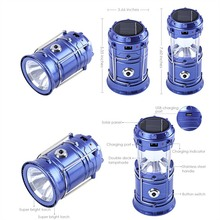 6-LED Rechargeable Solar Camping Lantern LED Torch Flashlight Cycling Tent Lights for Outdoor Lighting Hiking EU Plug