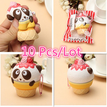 2017 New 10Pcs/Lot Jumbo Kawaii Animal Cute Squishy Panda Ice Cream Slow Rising Scented Vent Charm Phone Strap Kid Toy Gift Doll