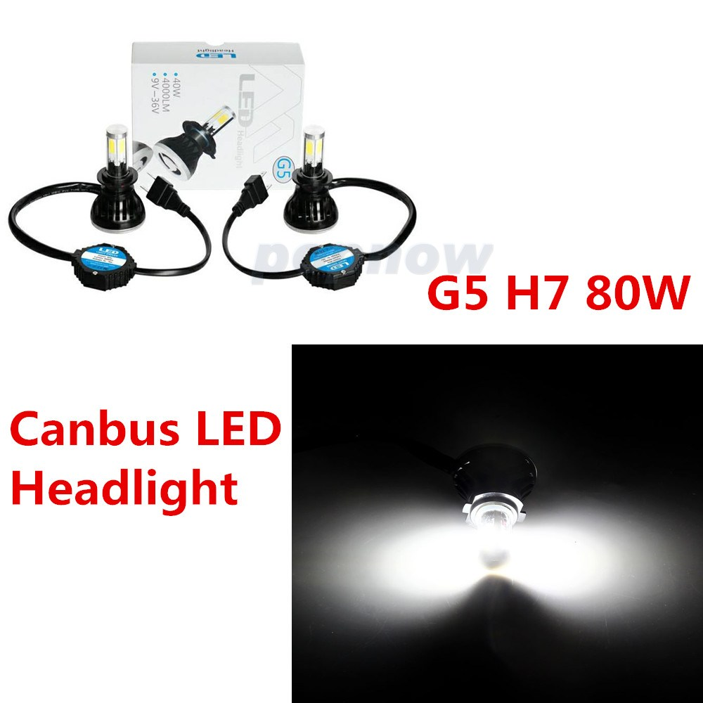 2pcs 80W 8000LM H7 Car LED Headlight G5 Headlamp Bulbs Coversion Kit 6000K COB Canbus LED Auto Front Headlight White Beam #5411<br><br>Aliexpress