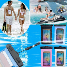 100% Sealed Universal waterproof cellphones pouch Case cover For Huawei Ascend Y330 swim sports screen touch front back shells