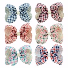 4 Inch Large Hairbow Hairpins British Style Dot Plaid Bow Hairpin for Girls Hair Accessories Summer Kids Hair clip 12pcs(China)