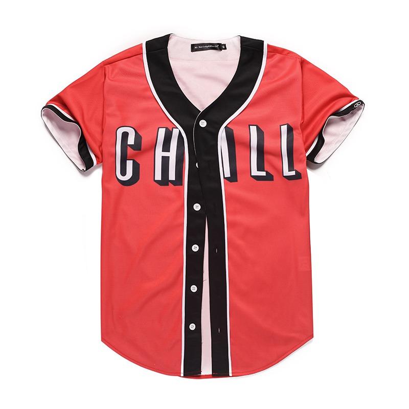 Mr.1991INC Brand Red T-shirt Mens Button Shirt Fashion Women Men Hip Hop Baseball Team Jersey Summer Casual 3D Tee Shirts Homme (1) -
