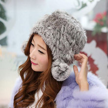 Handmade Beanies Natural Knitted Rex Rabbit Fur Hats Female Warm Caps Winter Warm fur hat Universal stocking stuffers for women