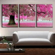 3 Pcs/Set Discount Framed Paintings Modern Landscape Canvas Print Pink Strewn Petal Canvas Wall Art Picture Top Home Decoration(China)