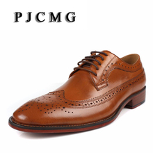 2017 Brand fashion business genuine leather formal men dress black/brown wedding shoes men flats luxury for male Big Size 38-46(China)