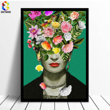 ZeroC Frida Kahlo Floral Printing Art Canvas Paintings Poster, Flower Wall Picture for Living Room Self Portrait