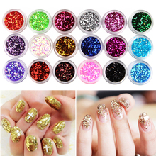 18 Color Hexagon Glitter Dust Sequin Set French Acrylic UV Gel Polish Tips Powder Sparkly Shiny 3D Nail Art Design DIY Decor Kit