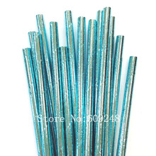 100pcs Metallic Plain Blue Foil Paper Straws,All Solid Pure Color Wedding Boy Baby Shower Birthday Party,Mason Jar Straws Bulk