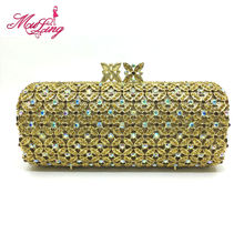 Luxury diamond vintage crystal long shape clutch bag golden silver jeweled designer women evening handbag wedding party purses(China)
