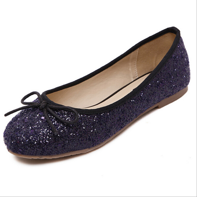 2017 new Korean shoes woman sequined bow round flat shoes comfortable women shoeschaussure femme s150<br><br>Aliexpress