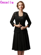 Black A-line Chiffon Lace Mother Of The Bride Gowns Short With Jackets Straps Casual Wedding Party Dresses Mother's Formal Wear(China)