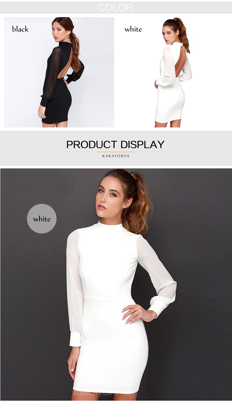 Kakaforsa Women Sexy Backless White Dress Casual Plus Size Slim Fit Bodycon Short Dress Long Sleeve O-Neck Mini Party Dresses 12