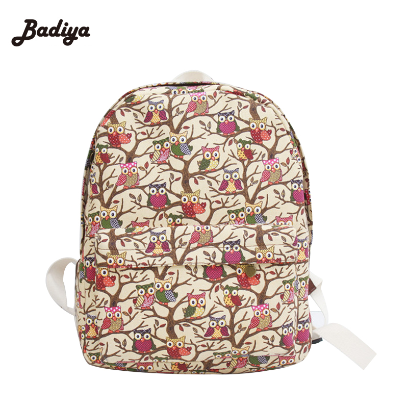 Korean Style Female Bags 2017 Newest Stylish Cool Canvas Owl Backpack For Students Casual Cartoon Travel School Backpacks<br><br>Aliexpress