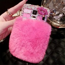 3D Rhinestone Fur Hotfix Phone Case For  HTC Wildfire S A510e G13 Jewelry Half Bunny Rabbit Fur Trim Coque Women Coque Fundas