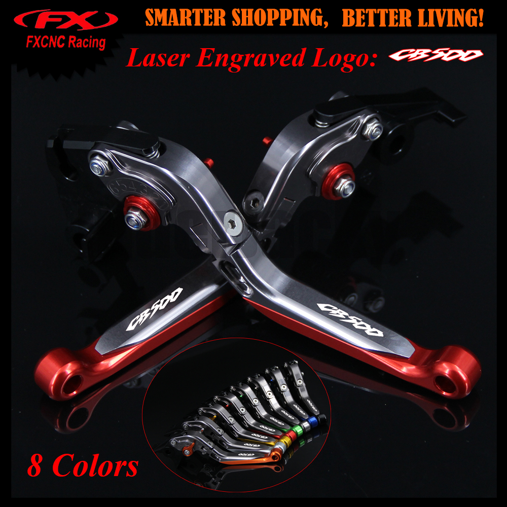 !With logo CB500 Red+Titanium For Honda CB500 CB 500 1998-2003 1999 2000 2001 2002 CNC Adjustable Motorcycle Brake Clutch Levers<br>