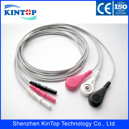 ECG holter cable leadwires with 3 5 7 10 leads,din style