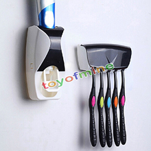 2016 1 Set Creative Automatic Plastic Lazy Toothpaste Dispenser 5 Toothbrush Holder Bathroom Shelves Bathing Accessories sets