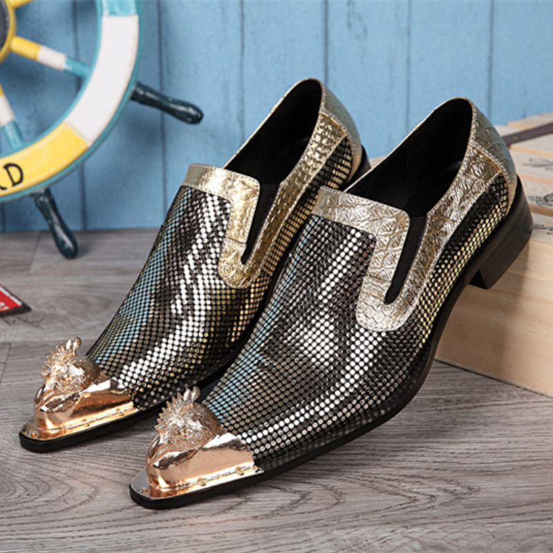 New Brand Genuine Leather Italian Men Shoes Fashion Gold Bling Bling Formal Shoes Wedding Business Dress Shoes Men Flats<br><br>Aliexpress