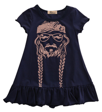 2017 Cute Navy Blue Kids Baby Girls Summer Willie Nelson Dress Party Casual Sundress Clothes(China)