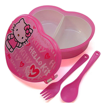 400MLHeart-Shape HelloKitty Microwave Cartoon Baby Dinnerware Bowl Kids Food Container Plastic Lancheira with Fork&Spoon