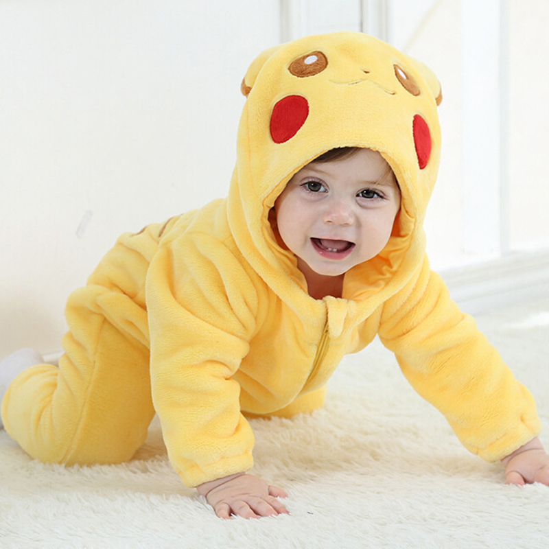 Flannel Thicken 3 Layers Baby Pikachu Minion Clothes Winter Long Sleeve Cartoon Hooded Baby Rompers Jumpsuits for 0-3Y Toddlers<br>