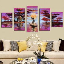Purple Oil Paintings African Landscape Wall Pictures for Bedroom 100% Handmade Canvas Painting Pictures Wall Decorative Artwork