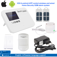 IOS & android APP control wireless wired bruglar GSM alarm system home security intercom English russian language free shipping(China)