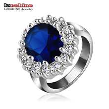 LZESHINE British Kate Princess Diana William Engagement Ring Silver Color Blue Zircon Rings anillos de compromiso Ri-HQ0016(China)