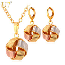 U7 Necklace Sets Women's Gift Wholesale Mix Rose Gold/ Gold Color Unique Ball Necklace Earrings Jewelry Sets S613(China)