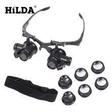 HILDA Headband 10X 15X 20X 25X LED Light Glasses Magnifier Watchmaker Jewelry Optical Lens Glass Magnifier Loupe Free Shipping