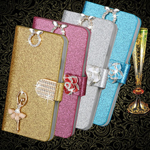 Fashion Bling Diamond Glitter PU Flip Leather mobile phone Cover Case For Alcatel One Touch POP C7 7040 OT7040D 7041D