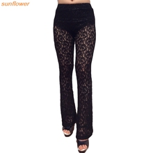 FancyQube Sexy Lace Crochet Pants Women's Black Loose Perspective Hollow Out Print Flared Trousers Leggings