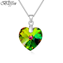 BAFFIN Made With SWAROVSKI Elements Crystal Heart Pendant Necklaces For Women Fashion Collier Joyas Mother's Day Gift