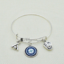 2017 Trendy Baseball Bracelet Bangle MLB Seattle Mariners Charms Love Bracelet for Men Women Jewelry