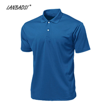 LANBAOSI Men's Sports Polo Shirts Solid Short Sleeve Quick Dry Cool Golf Tennis Jerseys Stand Collar camisa masculina