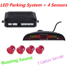 Car LED Parking Sensor Kit Display 4 Sensors Parking Assistance Buzzing Sound 22mm 12V for All Cars Reverse Backup Radar System