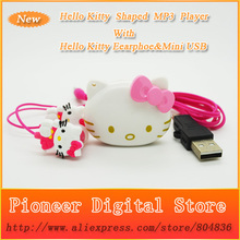 10 pcs/lot 100% Brand New Mini Fashion Hello Kitty Shaped Card Reader MP3 Music Player With Hello Kitty Earphone&Mini USB