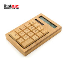 Calculadora Bamboo Calculator solar Power Calcolatrice Mini Calculator Handmade Crafted 12 Digits Display Wholesale with Package