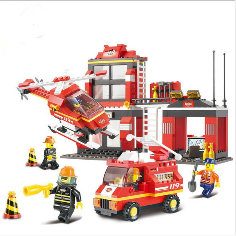 Sluban Building Blocks City Fire Station Truck Helicopter Firefighter learning &amp; Education toys Lepin<br><br>Aliexpress