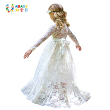 Girl Lace Long Dress Flower For Age 2-12 Baby Kids Princess Wedding Prom Christmas Party Gift White/Cream Big Bow Sweet Clothing
