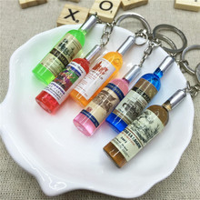 Metal Key Ring Cute Best Gift Resin Wine Bottle Keychain Assorted Color For Women Men Car Bag Keyring Accessions Mixed 5pcs(China)