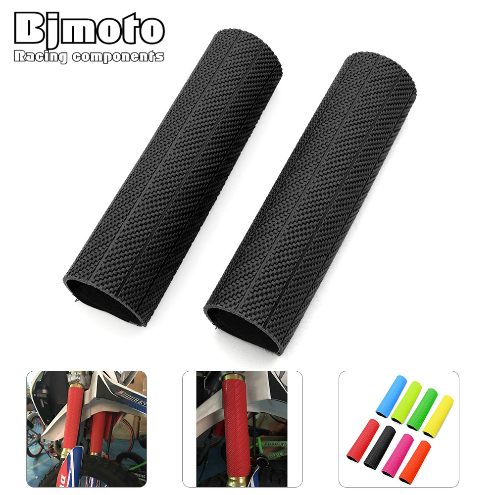 Red Motorcycle Fork Boots Shock Covers Protector Rubber Front Dust Gator Guard Gaiters For Honda CR CRF Dirt Bike Universal