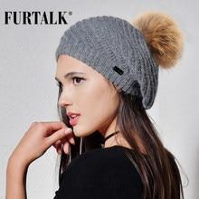 FURTALK Angola de piel de conejo sombrero sombreros para mujeres cálido  invierno de piel de las mujeres pom sombrero knit beanie. 0c2c5f58724