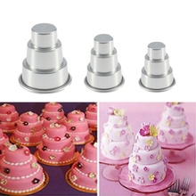 Mini 3 Tier Cake Tin Pan Cupcake Pudding Chocolate Cake Mold Baking Pan Mould Birthday Party Supplies Wedding Decoration 3 Sizes(China)