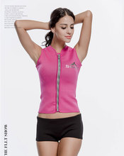 3mm Vest Wetsuit Top Women's Pink Front Zipper Vest Sports Suit for Surfing Boating Snorkelling Swimming(China)