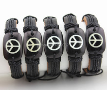 Wholesale Lots 12pcs Resin Carved Hand-woven Peace Logo Leather Bracelets Gift MB115